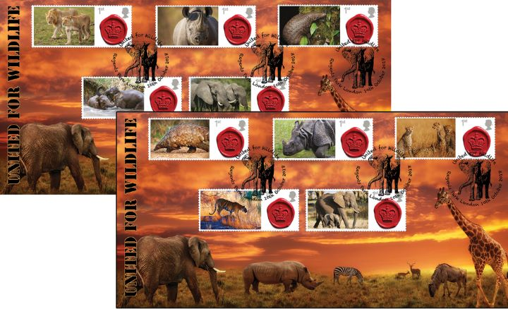 United for Wildlife [Commemorative Sheet], Wildlife in Africa- Pair of Covers