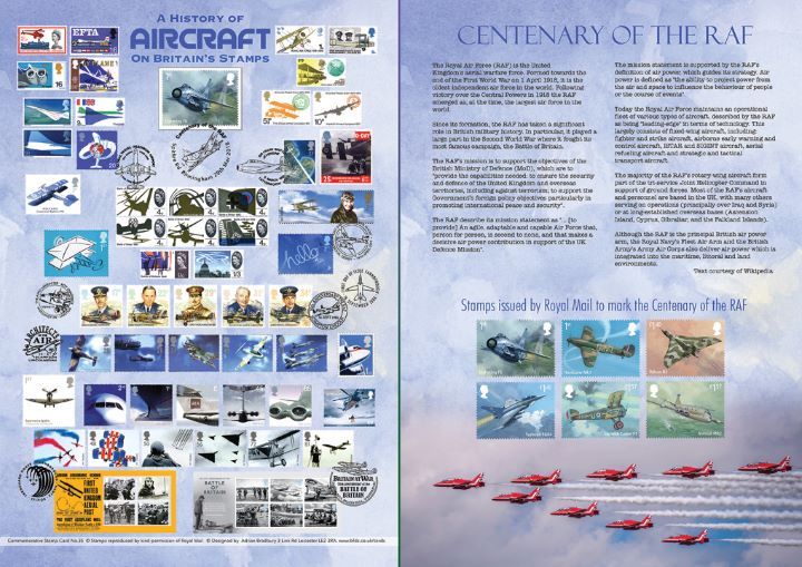 RAF Centenary, History of Aircraft on British Stampms