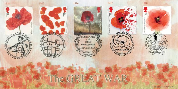 The Great War, QUINTUPLE stamps and postmarks