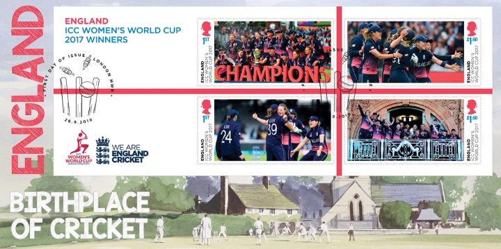 Women's Cricket World Cup: Miniature Sheet, England - Birthplace of Cricket