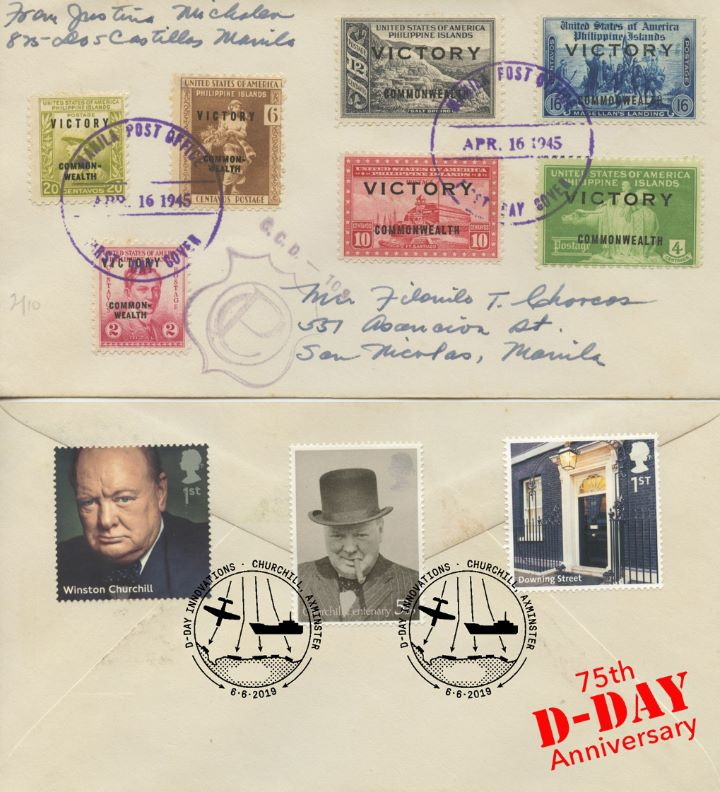 D-Day, USA Victory stamps from Philippines double date