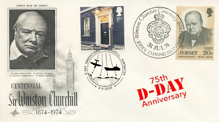 D-Day, Winston Churchill Centenary Parliament double dated cover
