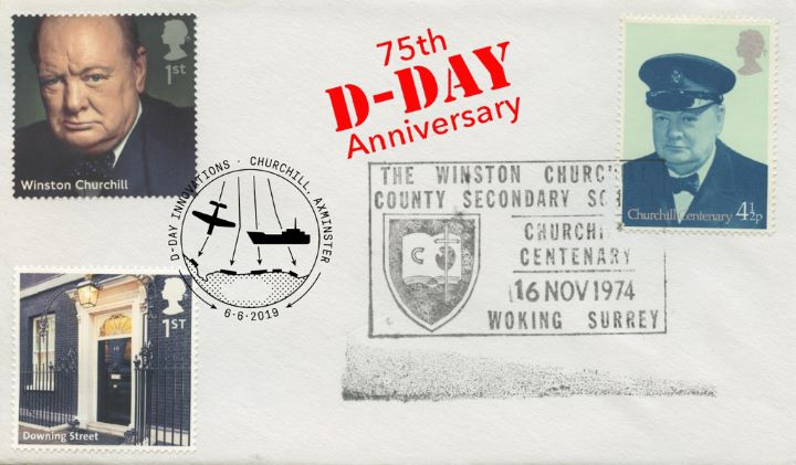 D-Day, Churchill Centenary Double Dated cover