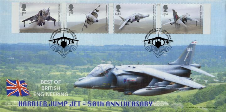 British Engineering: Miniature Sheet, Jump Jet postmarked from Brize Norton