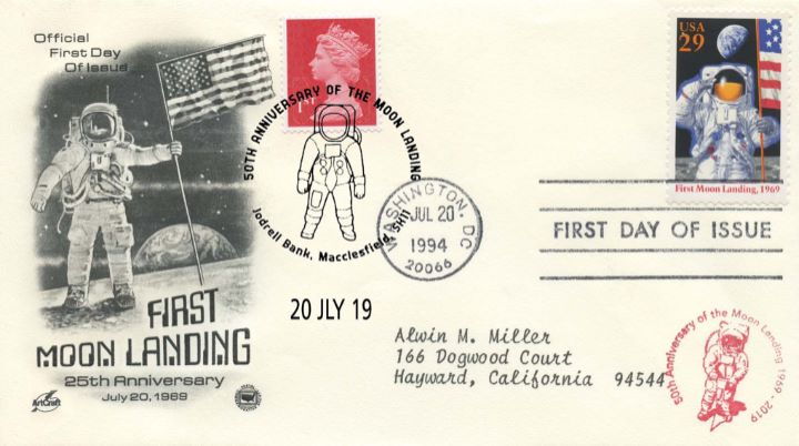 Moon Landing Double-dated cover, 25 Anniversary Cover