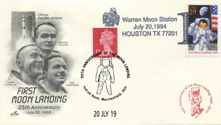 Double-dated cover, Collins, Aldrin and Armstrong