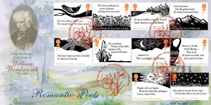 Stamps feature William Wordsworth, Lord Byron, John Keates etc