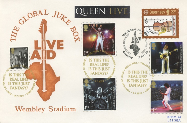Queen: Miniature Sheet, Live Aid Double-Dated Cover