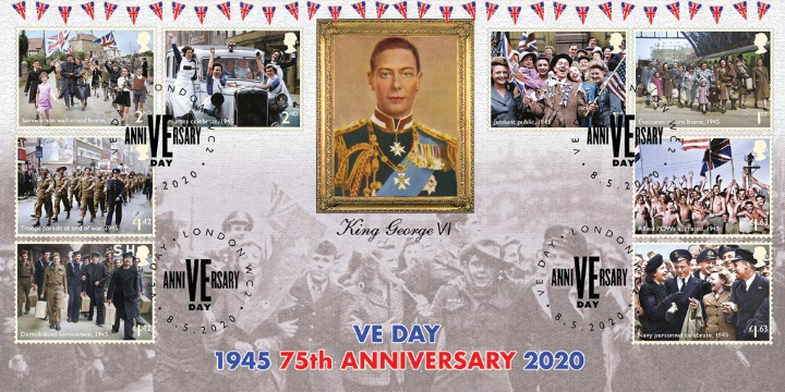 VE Day, King George VI and Jubilant Crowds