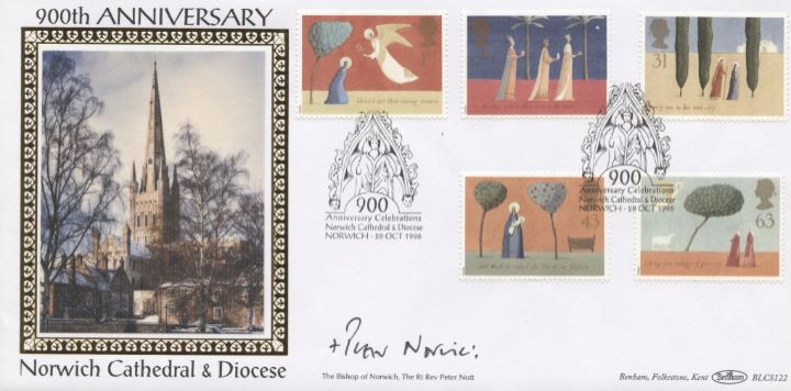 Christmas 1996, Bishop of Norwich signed