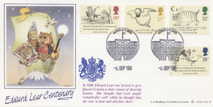 Edward Lear: Stamps, Owl and the pussycat
