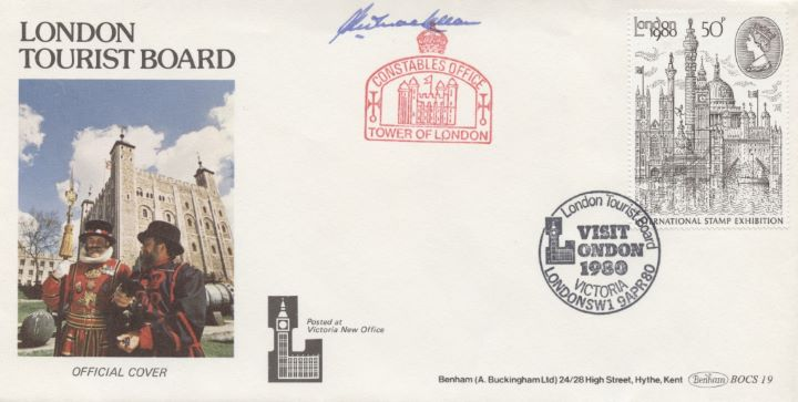 London 1980: 50p Stamp, Signed by Keeper