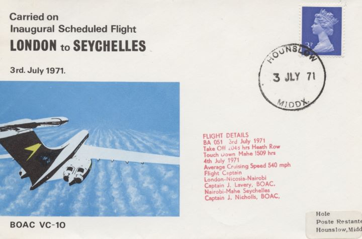 Inaugural Scheduled Flight, London-Seychelles