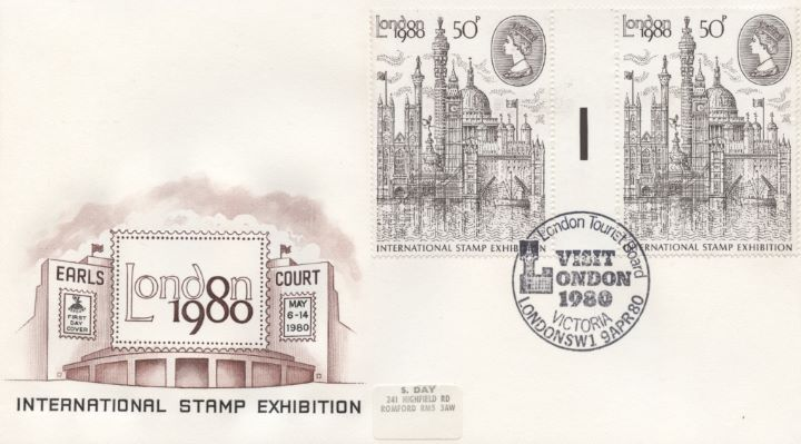 London 1980: 50p Stamp, Gutter Pair of Stamps