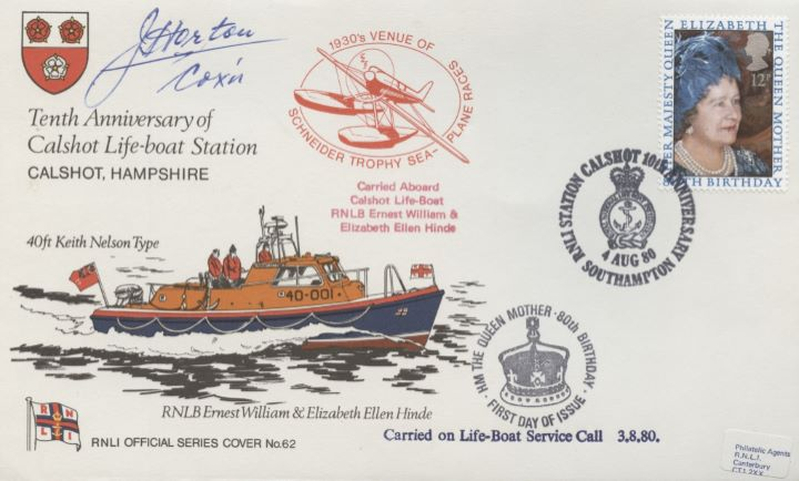 Queen Mother 80th Birthday, Signed Calshot Lifeboat