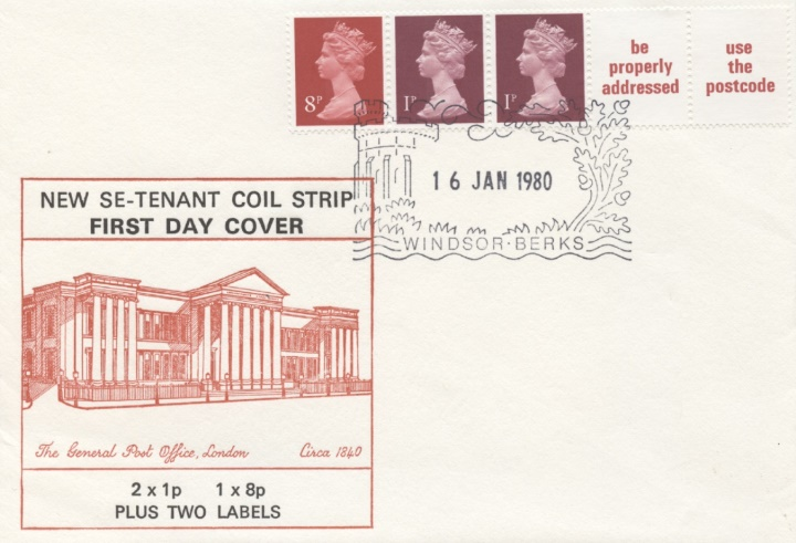 Machins: 10p Se-tenant Stamp Coil, The General Post Office