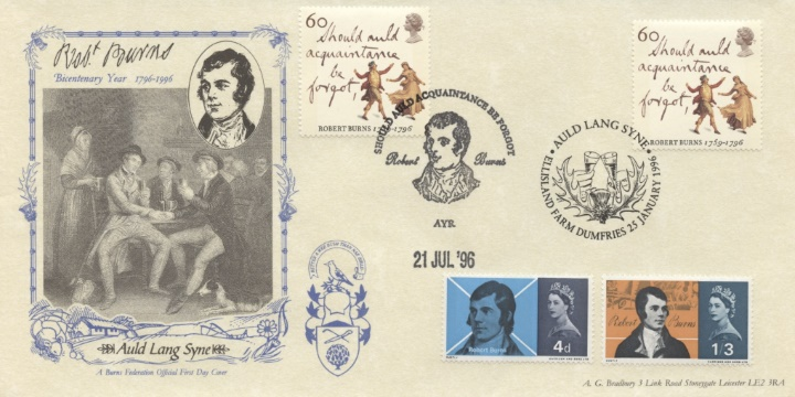 Robert Burns Bicentenary, Double dated cover