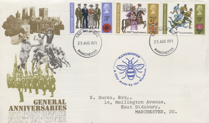 General Anniversaries 1971, Manchester Bee Cachet