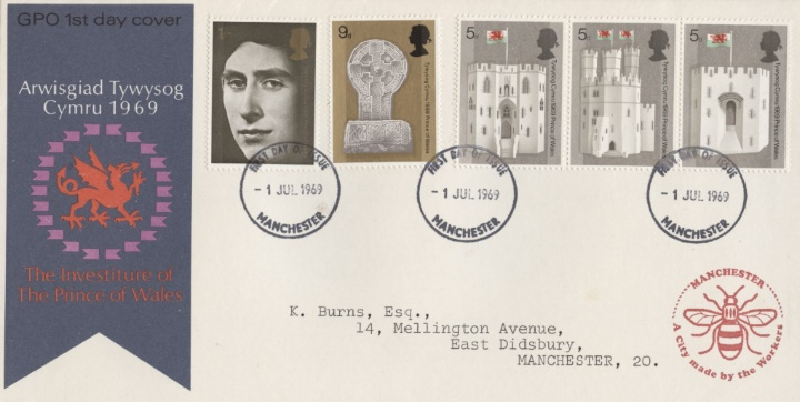 Prince of Wales Investiture, Manchester Bee Cachet