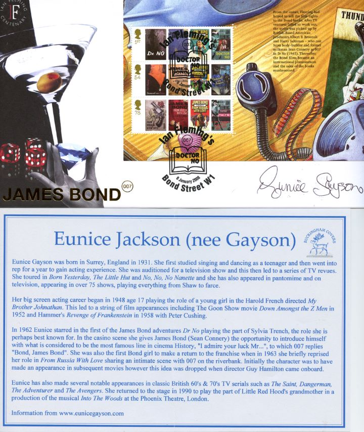 PSB: James Bond - Pane 3, Signed by Eunice Jackson