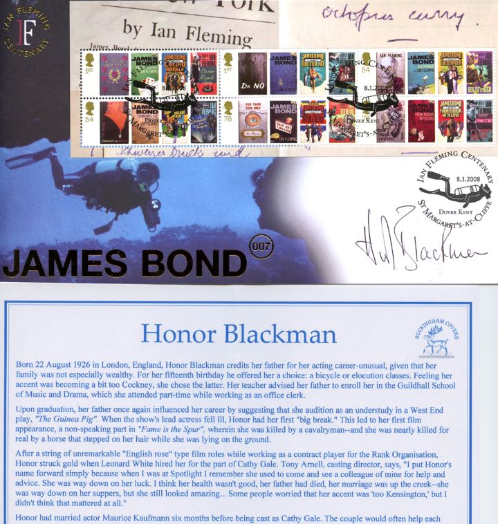 James Bond: Miniature Sheet, Signed by Honor Blackman