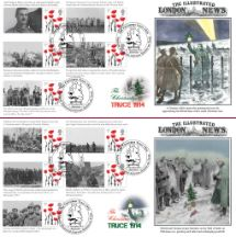 11.11.2014 The Christmas Truce [Commemorative Sheet] British and German Troops Fraternise Bradbury, BFDC No.297