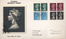 15.02.1971 Stitched: Decimal Values: 10p Pillar Boxes 1 (1855) HM The Queen