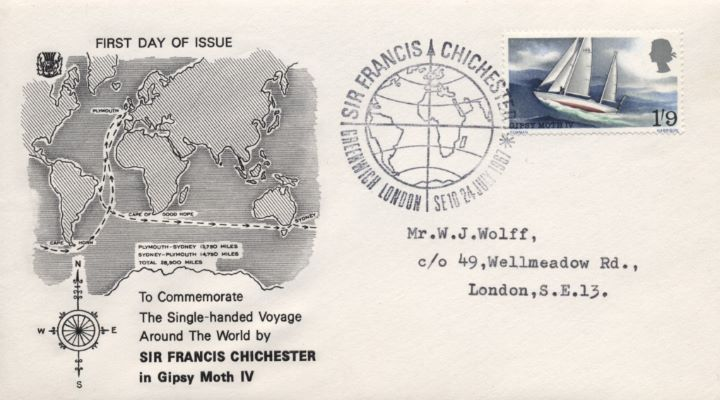 Sir Francis Chichester, Map of Globe showing Route