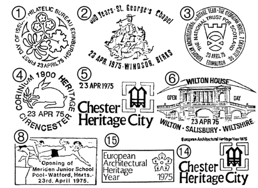 European Architectural Heritage Year Postmarks
