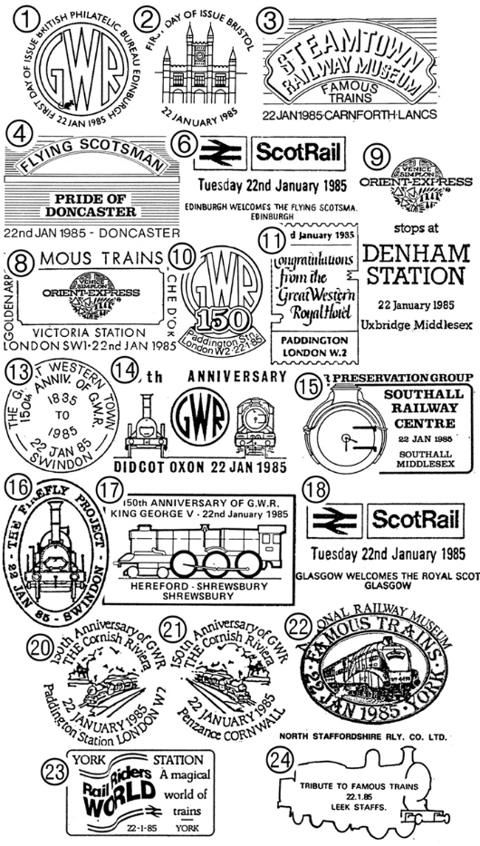 Famous Trains Postmarks