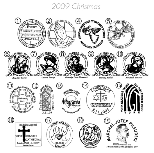 Christmas 2009: Miniature Sheet Postmarks