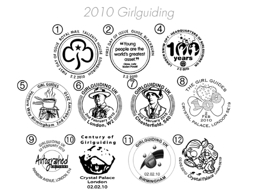Girl Guiding: Miniature Sheet Postmarks