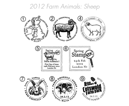 Farm Animals: Series No.1, Sheep Postmarks