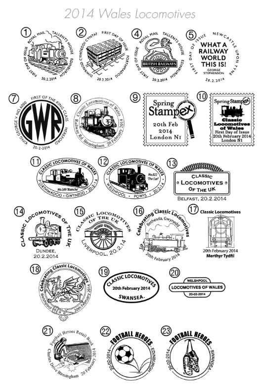 PSB: Classic Locomotives - Pane 1 Postmarks