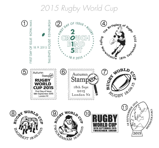 Rugby World Cup Postmarks
