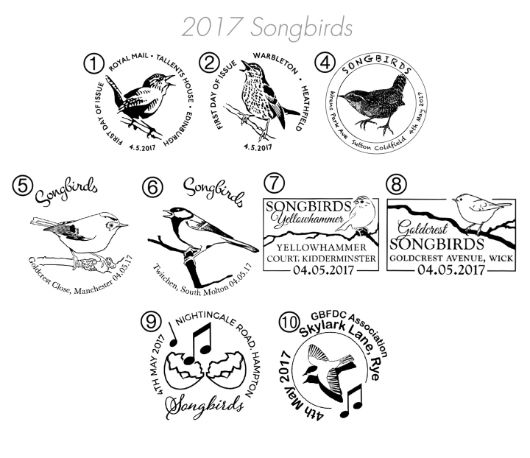 Songbirds Postmarks