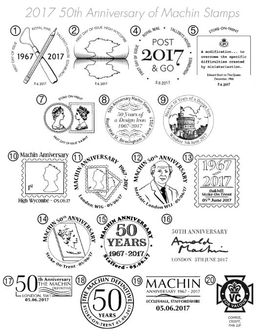 Machin Golden Anniversary: Miniature Sheet Postmarks