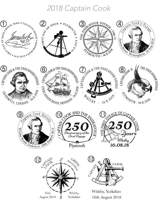 Captain James Cook: Miniature Sheet Postmarks