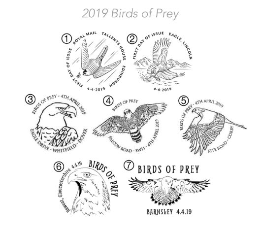Self Adhesive: Birds of Prey Postmarks