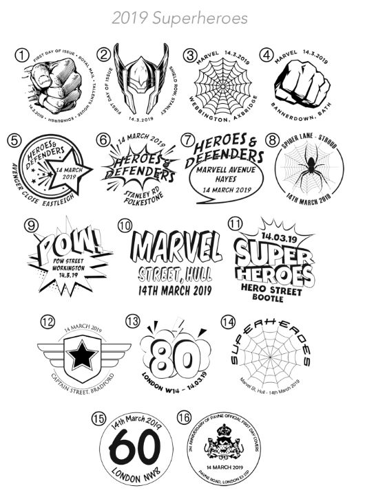 Marvel: Miniature Sheet Postmarks