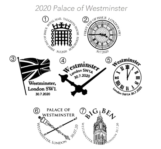 Palace of Westminster: Miniature Sheet Postmarks