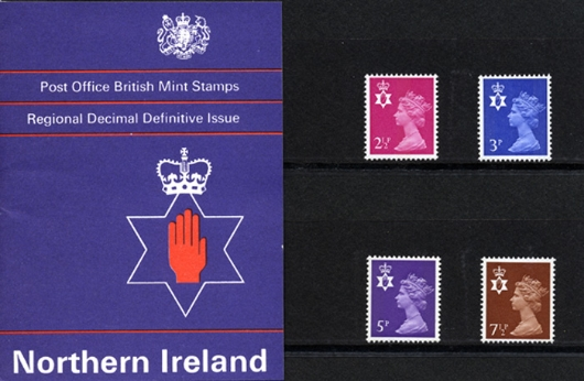 Northern Ireland 2 1/2p, 3p, 5p, 7 1/2p Presentation Pack