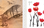 Poppy Stamps - SAVE OVER £15 100 x 1st Great War 1st Class stamps and labels