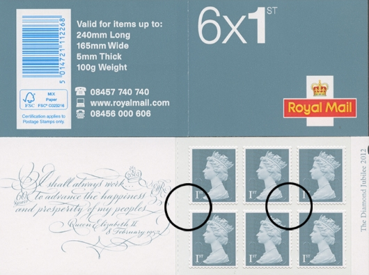 : Diamond Jubilee: 6 x 1st Stamp Book