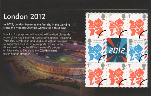 Prestige Stamp Book: Welcome to the London 2012 Olympic Games: Pane 1