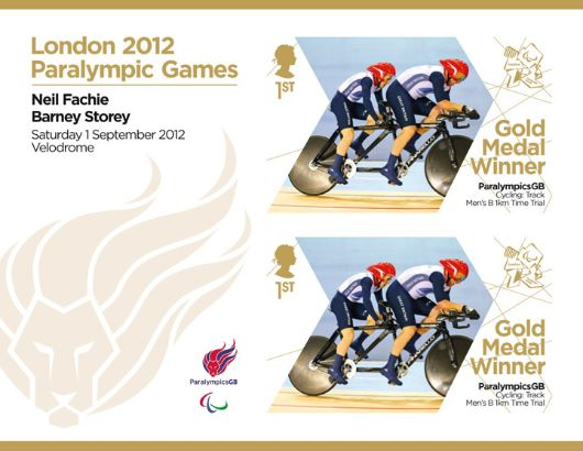 Cycling - Men's Individual B 1km Time Trial: Paralympic Gold Medal 5: Miniature Sheet